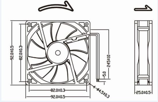 Xinyujie 12V 24V High Air Flow DC Cooling Fan 92X92X25mm pictures & photos