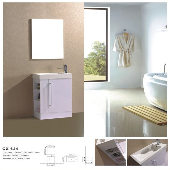 Side-Open MDF Bathroom Cabinet with Mirror
