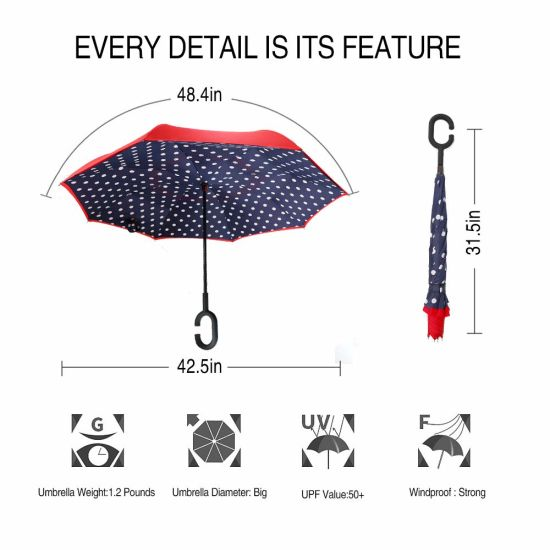 Japanese Chinese Traditional Asian Blue Vector Image Reverse Umbrella Double Layer Inverted Umbrellas For Car Rain Outdoor With C-Shaped Handle Personalized