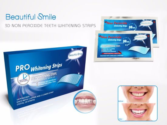 Non-Peroxide Sodium Chlorite 100% Natural Activated Charcoal Teeth Whitening Strips pictures & photos