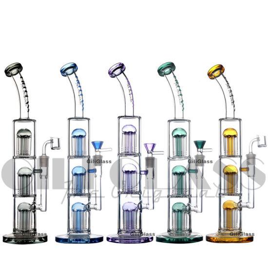 "Giliglass 15.5"" Tall Triple Tree Perc Glass Pipe DAB Rig Heady Oil Rigs Water Bubbler Oil Burner Dabbe"