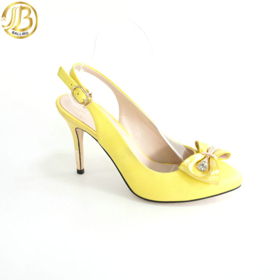 677cda9943a7 Yellow Bowknot Fashion High Heel Lady Sandal (G871-A4L11-A) pictures