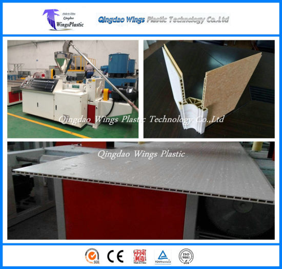 WPC Profiles Machine, WPC Wall Panel Making Machine / Conical Twin Screw Extruder pictures & photos