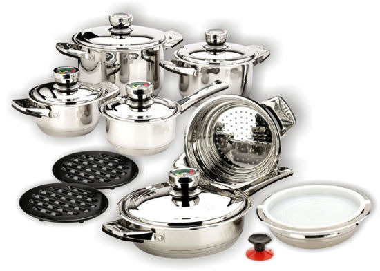 16PCS Stainless Steel Wide Edge Cookware Set