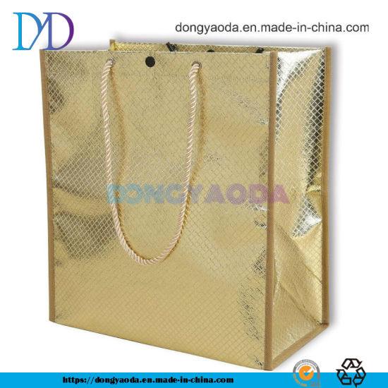 Custom Embossed Waterproof Luxury PP Lamination Laser Non Woven Handle Shopping Bag