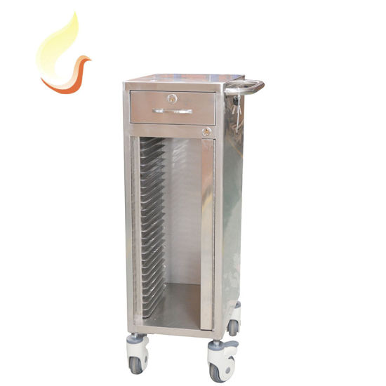 Hospital Mobile Stainless Steel Patient Record Trolley File Cart with Wheels
