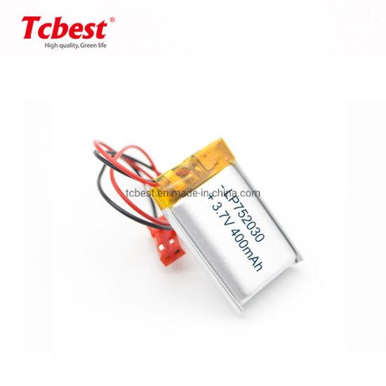 Li-Po Rechargeable Battery 3.7V 400mAh Lithium Polymer Battery Cell 752030 Li-Polymer Battery 3.7V 270mAh Li Polymer Rechargeable Battery with PCB Protection