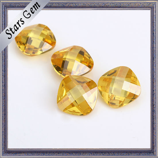 China Hot Sale Popular Golden Color Cushion Cut Gemstone