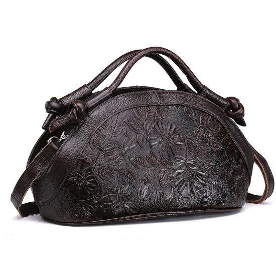 Custom Order Good Quality Price Dark Brown Genuine Leather Women Tote Bag