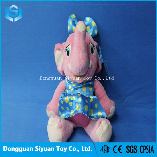 Smiling Pink Elephant Soft Plush Stuffed Toy with Skirt pictures & photos
