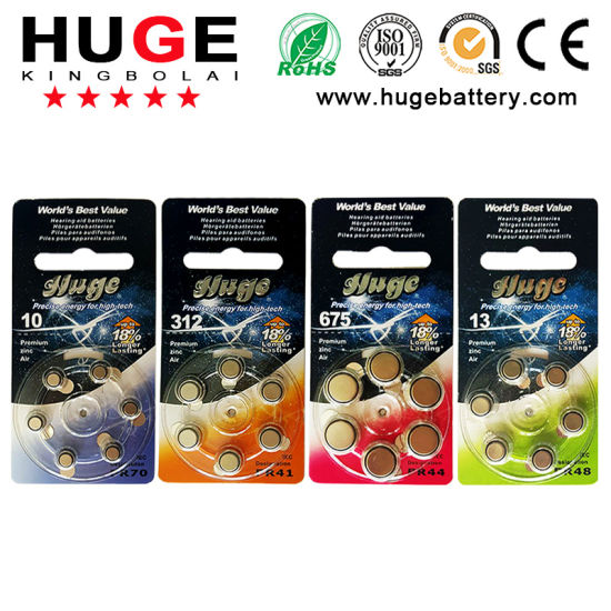 6PCS/Blister Pack 1.4V Hearing Aid Battery A312 A10 A13 A675