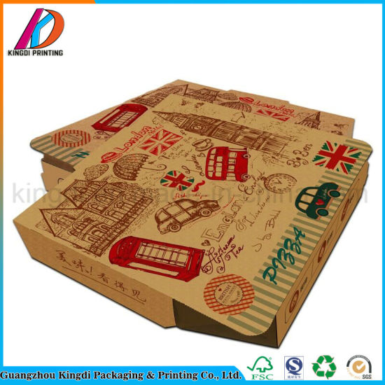 Custom Food Grade Eco-Friendly Kraft Paper Corrugated Pizza Box pictures & photos