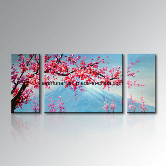 2018 New Handpainted Mount FUJI 3 Panels Canvas Oil Painting Wall Art Living Room Decor pictures & photos