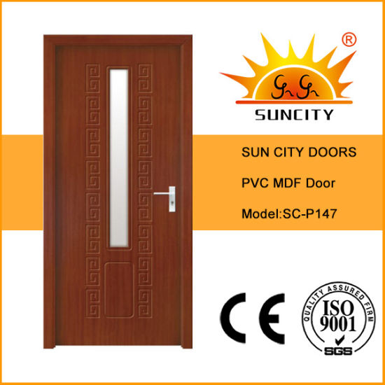 China Internal Simple Bedroom Pvc Door With Glass Designs Sc P147