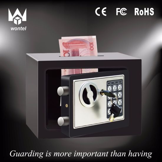 Hot Sale Black Color 17et Money Slotting Mini Steel Plate Home or Hotel Use Safe Box Manufacturer pictures & photos