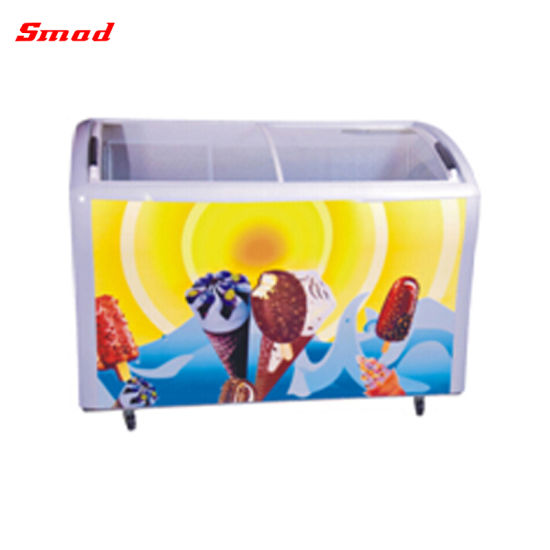 Commercial Curved Sliding Glass Door Chest Freezer