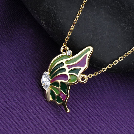 Popular Jewelry Fashion Lady Yellow Gold Butterfly Pendant Necklace pictures & photos