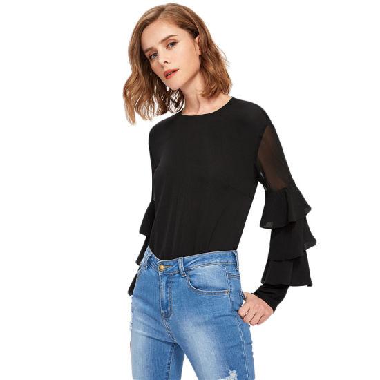 872e2fd5fd3 Black Long Sleeve Shirts with Ruffles Sleeve Blouse Women Blouse Elegant  Office Ladies Tops