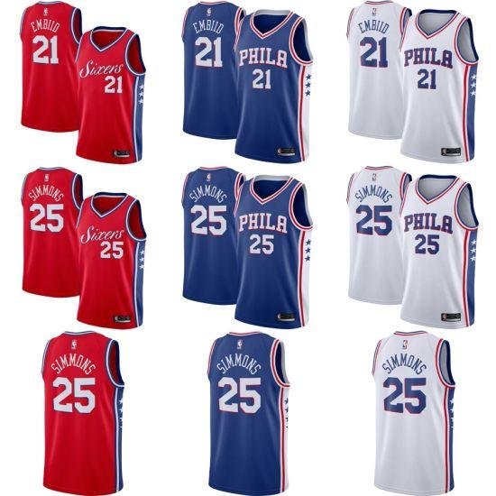 reputable site 16415 b00f1 China Philadelphia 76ers Ben Simmons #25 Joel Embiid #21 ...