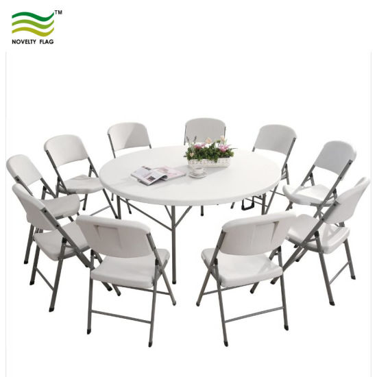 Indoor Outdoor Plastic Picnic Party Dining Camp Folding Roundtable Portable Tables (J-NF18F05110) pictures & photos
