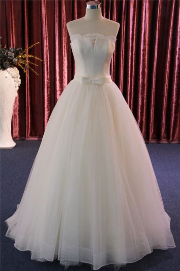 Strapless Satin Lace Bridal Gown Wedding Dress Made in China pictures & photos