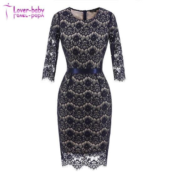 Round Neck Lace Back Zipper Short Sleeve Pencil Lace-Stitching Evening Dress L36037