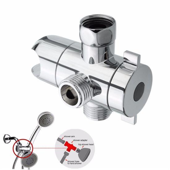 3 Way Plastic Chrome Shower Head Water Diverter Valve Adapter Bracket Holder