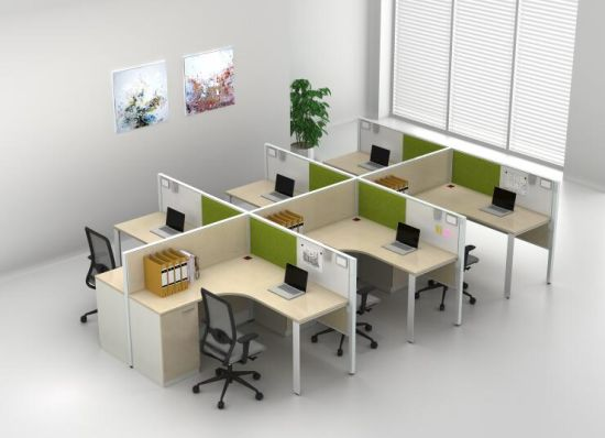 Modern Office Furniture 6 Persons Modular Office Desk With Fixed File  Cabinet