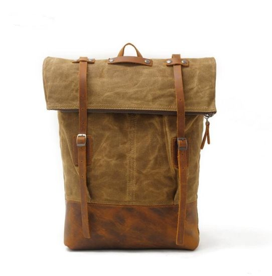 4ca2efa46e Water Proof Canvas Backpack Crazy Horse Leather Water Repellence Canvas  Rucksack Bag (RS-8004
