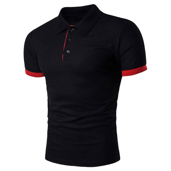 Customized Men′s Short Sleeve Contrast Color Lapel Polo Tee Shirts pictures & photos