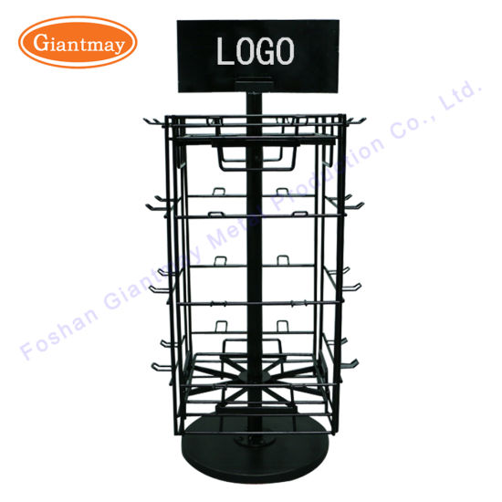 360 Degree 4 Sided Rotating Tabletop Counter Metal Spinner Display Turntable Rack