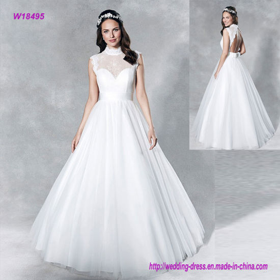 3cfaef774d79 China High Neckline Feminine A-Line Wedding Dress with Keyhole at ...