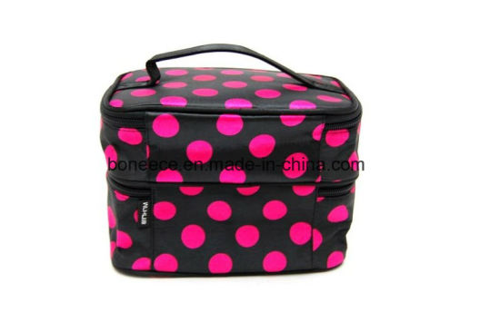 f2b94009bbe1 China Double Layer Black with Pink DOT Travel Cosmetic Bags with ...