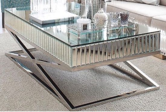 Espejos Mesas De Centro New Arrive X Shape Mirror Coffee Table with Stainless Steel Leg