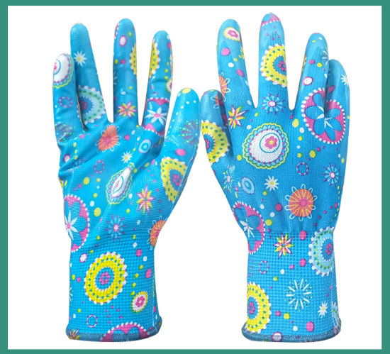 Good Price Oil and Slip Resistance 13G Nylon Liner Nitrile Coated Garden Work Safety Glove with Good Grip