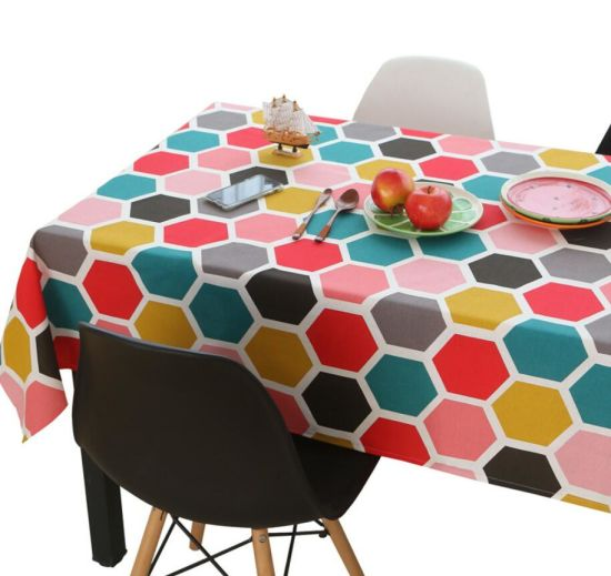 Rural Style Lovely Rectangular Cotton Linen Arts Table Cloth