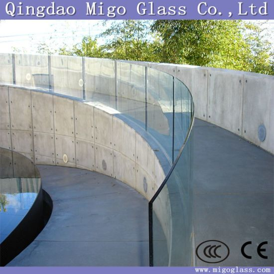 ba7c5f7b21a3 8mm 10mm 12mm 15mm Clear  Acid Etched Toughened Curved Glass Balustrade  pictures   photos