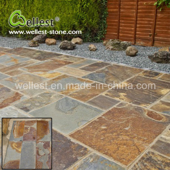 Natural Outside Paving Stone Honed Surface Rusty Slate pictures & photos