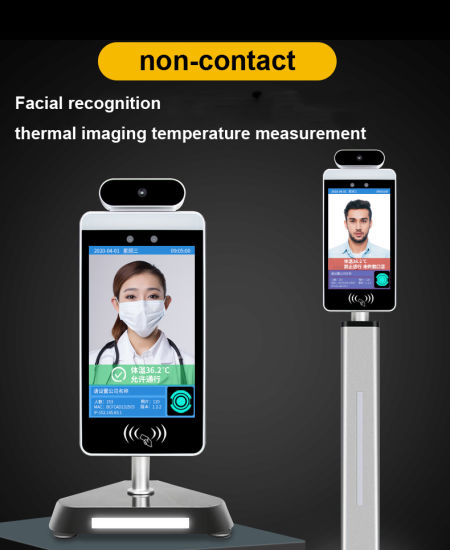 8 Inch Attendance System with Facial Recognition and Non-Contact Temperature Measurement Temperature Ensor Infrared Thermometer Thermal Camera Digital Thermome
