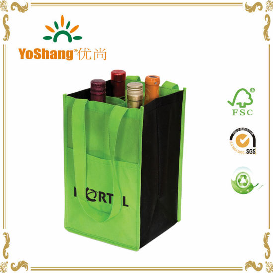Factory Sale Quality Customized 4 Bottles Non Woven Wine Bag