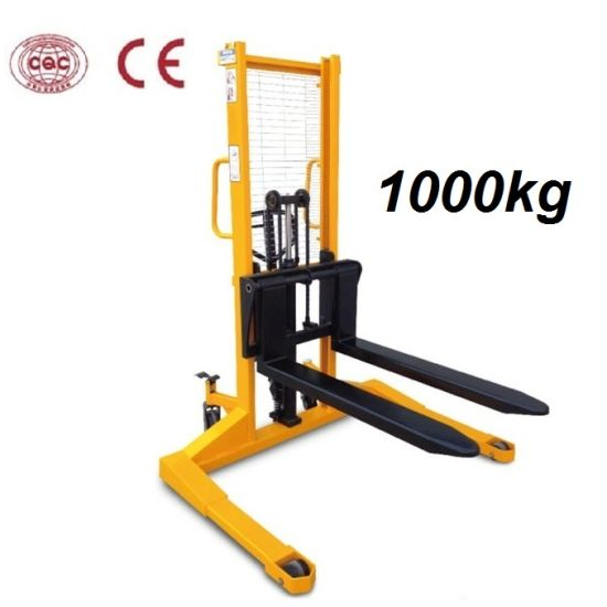 2 Ton Walk Behind Pallet Stacker Electric Forklift Price 1: China 1000kg Manual Stacker With Wide Legs