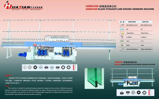 9 Spindles Manual Flat Glass Straight Line Edging Machine