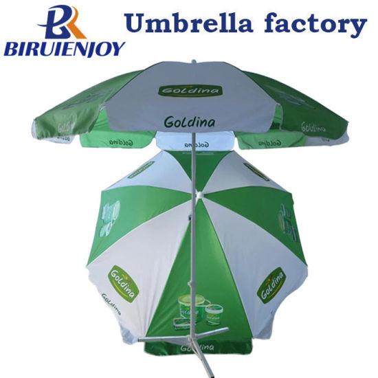 Promotional Large Green White Beach Sun Umbrellas with Custom Logo Printing