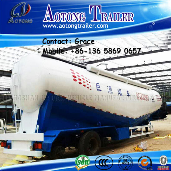China Factory Tri-Axle Dry Bulk Cement Tanker, Cement Bulker Tank Truck Trailers with Air Compressor pictures & photos