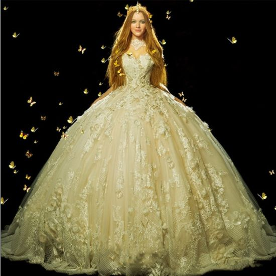 New Style 2018 3 4 Sleeves Ivory Ball Gown Wedding Dress Z201710