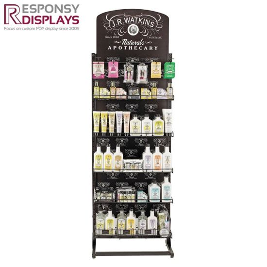 Floor Adjustable Metal Shelves Nail Polish Display Stand with Wood Cabinet pictures & photos