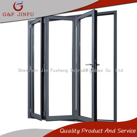 China 4-Panel Aluminium Profile Tempered Glass Folding/Bifold Doors ...