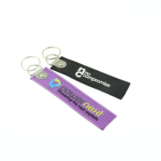 Custom 100% Polyester Remove Before Flight Embroidery Keychain pictures & photos