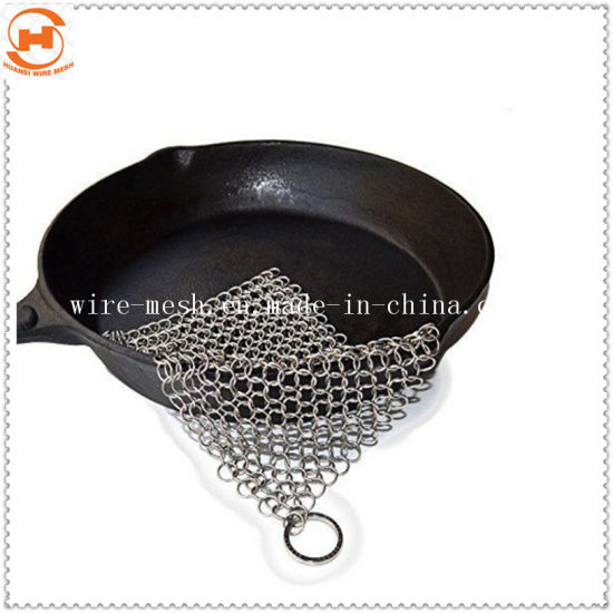 Stainless Steel Chainmail Cast Iron Pan Scrubber