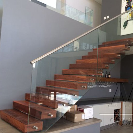 Pine Or Walnut Wood Tread Straight Staircase With Laminated Tempered Glass  Handrail